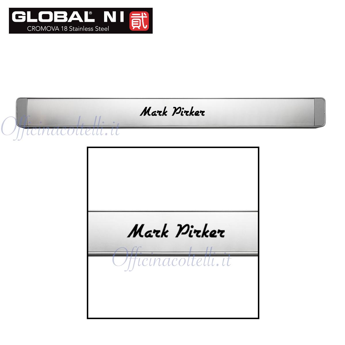 Esempio di incisione laser con nome personalizzato su barra magnetica Global