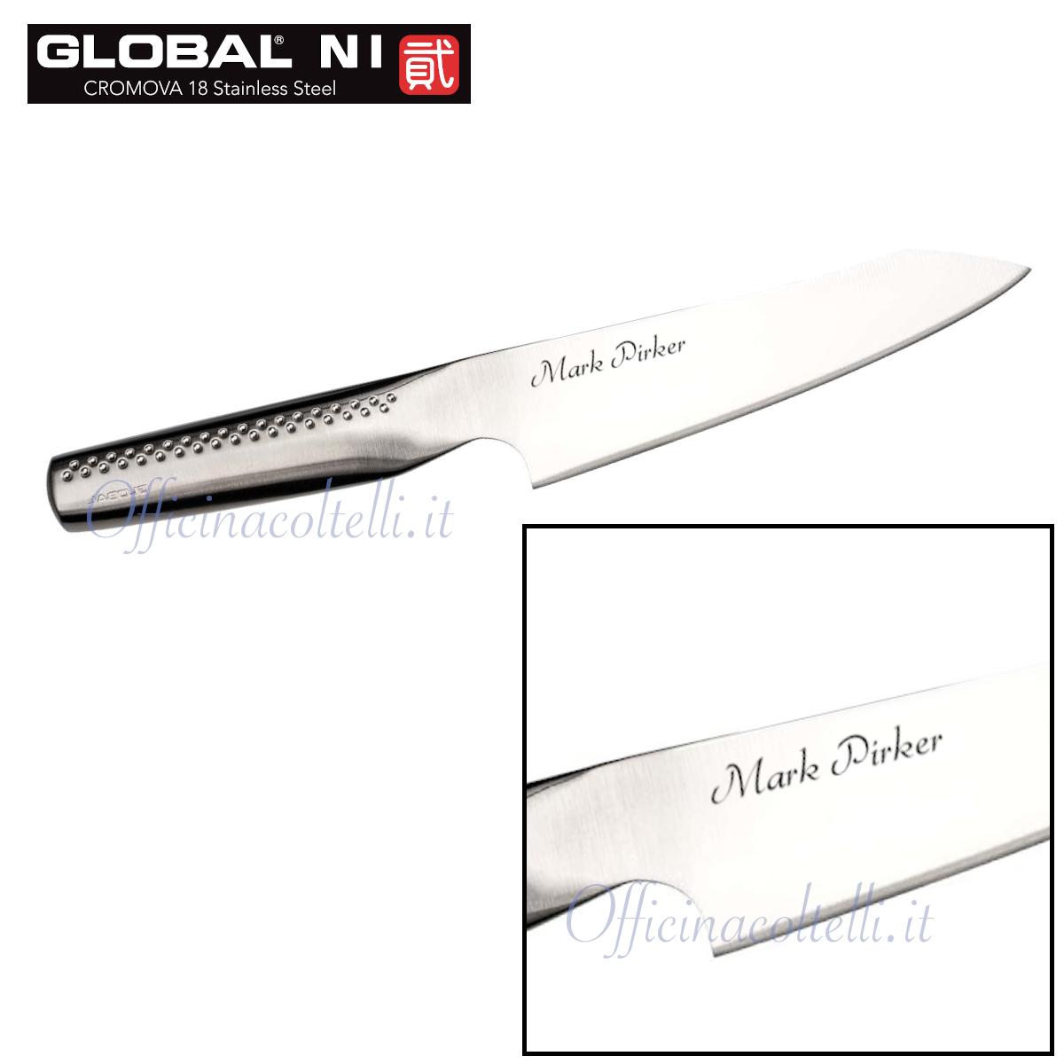 esempio di personalizzazione coltello da cuoco orientale Global NI