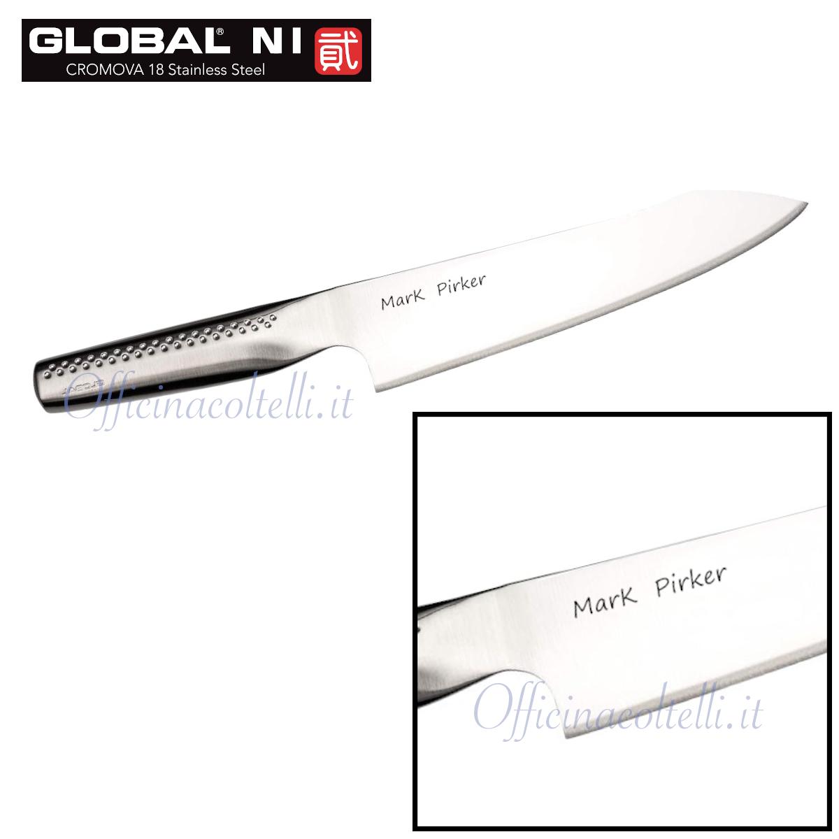 Esempio di incisione personalizzata su coltello da Cuoco orientale serie NI Global