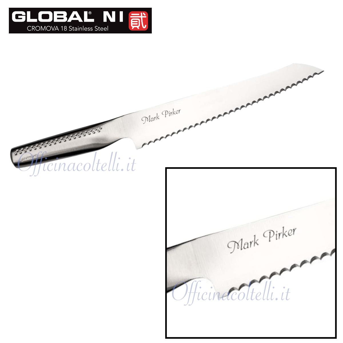 Esempio di incisione su coltello da pane Global NI