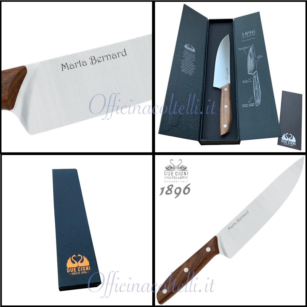 Particolari del coltello da Chef 1896 Due Cigni personalizzato