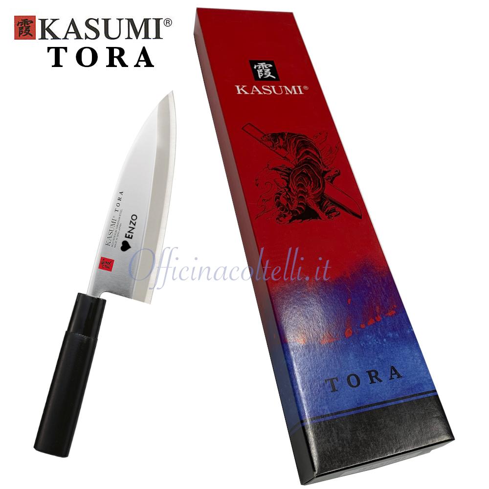 Esempio incisione su coltello Kasumi Tora Deba con scatola