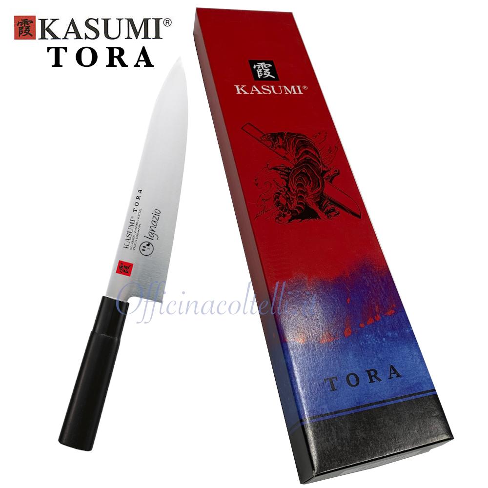 Esempio incisione su coltello da Chef personalizzato Kasumi Tora con scatola