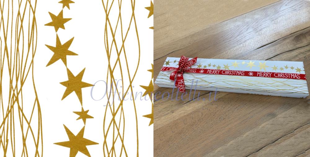 carta da regalo eco con stelle bianche per coltelli da cucina