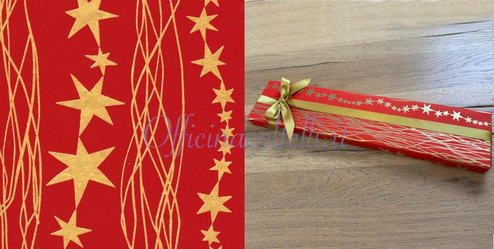 carta da regalo eco con stelle rosse per coltelli da cucina