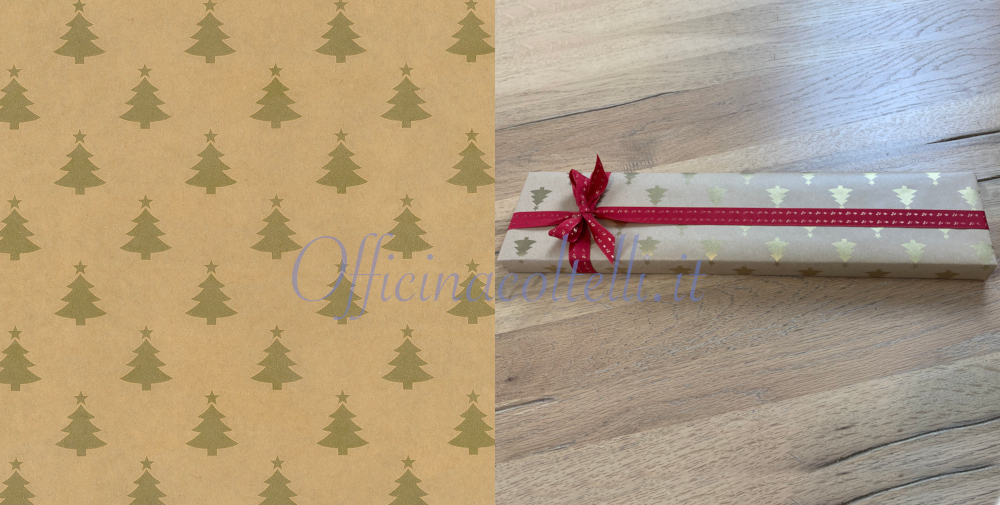 carta regalo kraft pini oro per coltelli da cucina