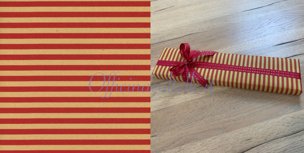 carta regalo paglia a righe rosse per coltelli da cucina