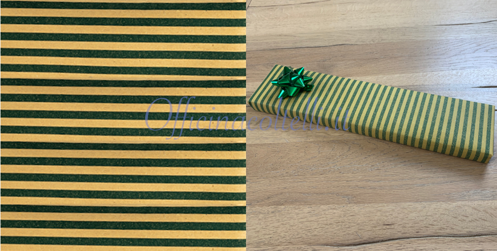 carta regalo paglia a righe verdi per coltelli da cucina
