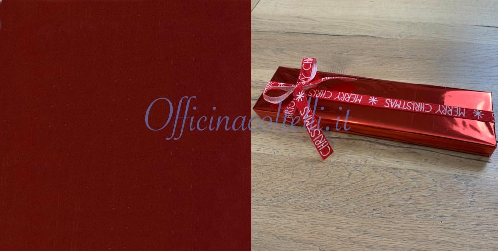 carta regalo plastica colore rosso per coltelli da cucina